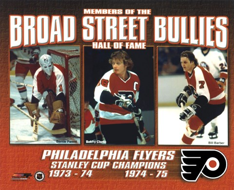 Framed Broad Street Bullies- Bernie Parent, Bobby Clarke, & Bill Barber Print