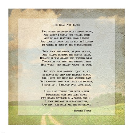 Framed Robert Frost Road Less Traveled Poem Print