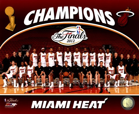 Framed Miami Heat 2012 NBA Champions Team Photo Print