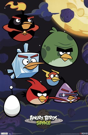 Framed Angry Birds - Space Print