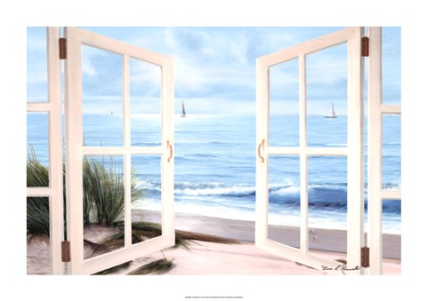 Framed Sandpiper Beach View From the Window Print
