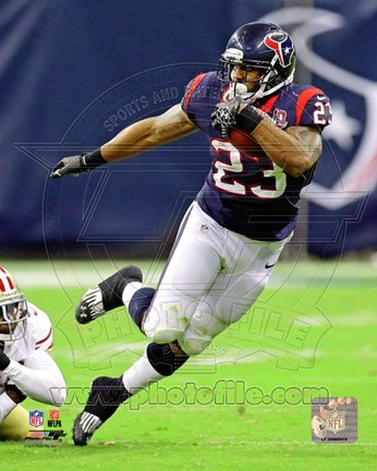 Framed Arian Foster Football Field Action Print