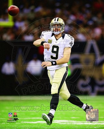 Framed Drew Brees On Football Field Print