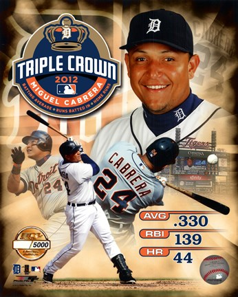 Framed Miguel Cabrera MLB Triple Crown Winner PF Gold Composite Print