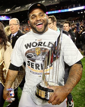 Framed Pablo Sandoval with the World Series MVP Trophy Game 4 of the 2012 World Series Print