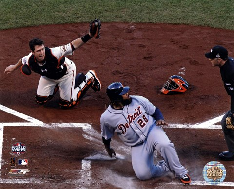 Framed Buster Posey tags out Prince Fielder Game 2 of the 2012 MLB World Series Action Print