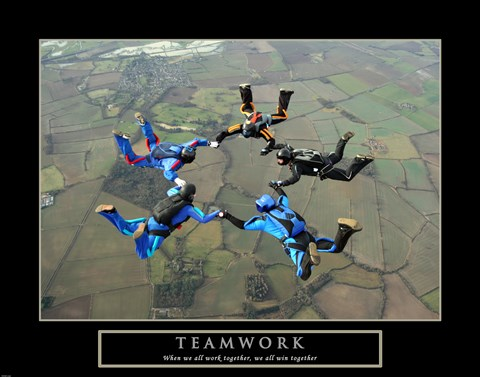 Framed Teamwork-Skydivers II Print