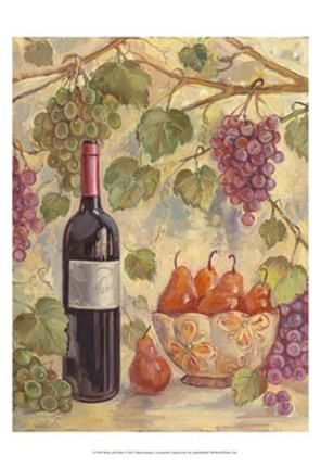 Framed Wine with Pears Print