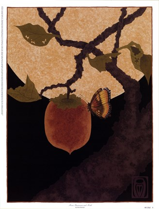 Framed Moon, Persimmon and Moth Print