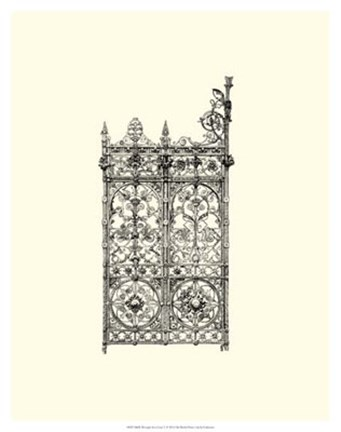 Framed B&W Wrought Iron Gate V Print