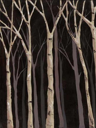Framed Midnight Birches I Print