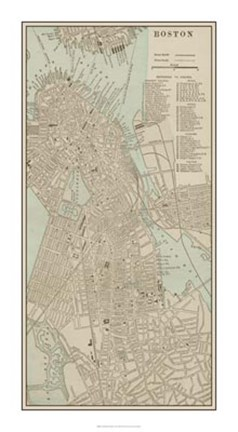 Framed Tinted Map of Boston Print
