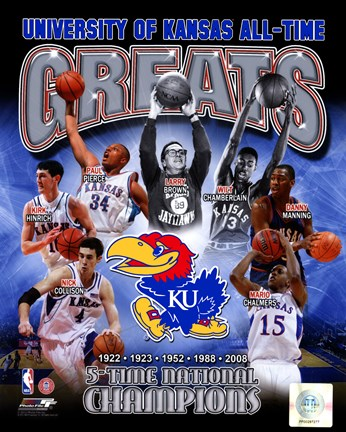Framed University of Kansas Jayhawks All Time Greats Composite Print