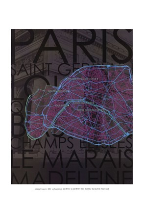 Framed Neon Map III Print