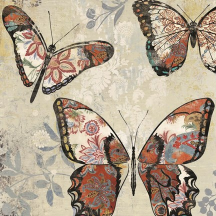 Framed Patterned Butterflies I Print