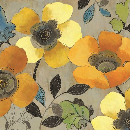 Framed Yellow and Orange Poppies II Print
