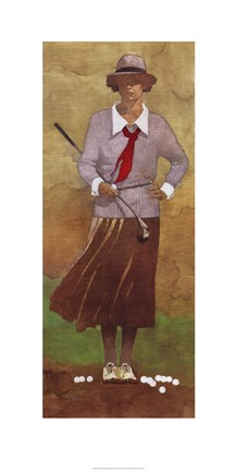 Vintage Woman Golfer Fine Art Print By Bart Forbes At