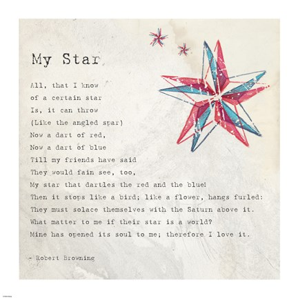 Framed My Star by Robert Browning - square Print