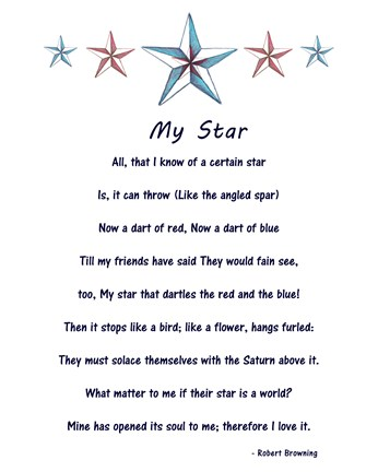 Framed My Star by Robert Browning - white Print