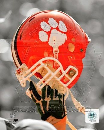 Framed Clemson University Tigers Helmet Spotlight Print