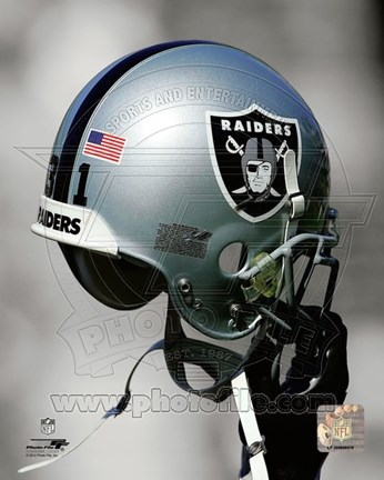 Framed Oakland Raiders Helmet Spotlight Print