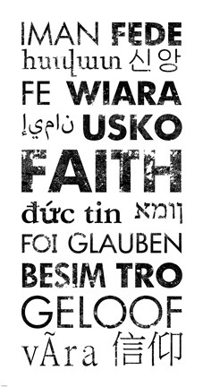 Framed Faith Languages Print
