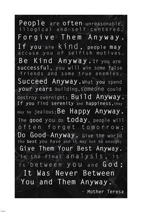 Framed Mother Teresa Quote Black Print