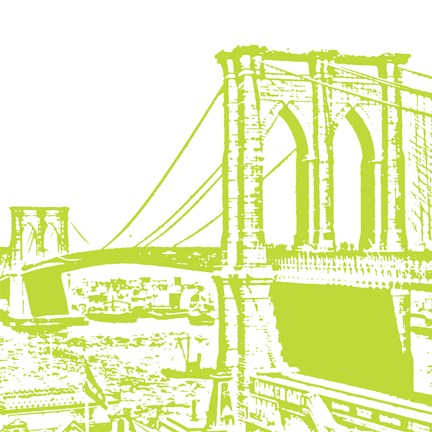 Framed Lime Brooklyn Bridge Print