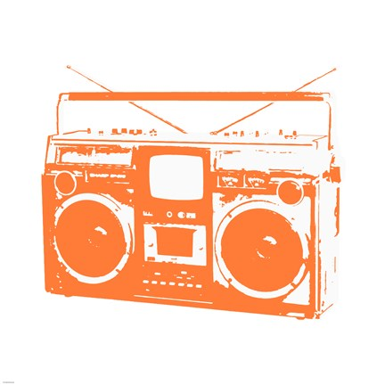 Framed Orange Boom Box Print