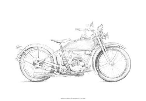 Framed Motorcycle Sketch IV Print