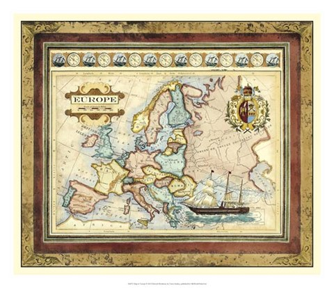 Framed Map of Europe Print