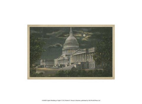 Framed Capitol Building at Night Print