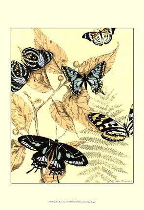 Framed Spa Butterflies in Nature II Print
