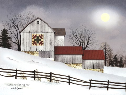 Christmas Star Quilt Block Barn Fine Art Print By Billy