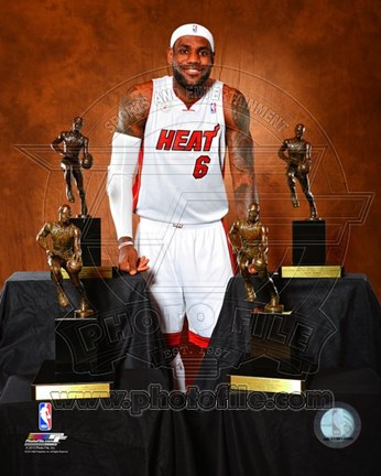 Framed LeBron James poses with his four MVP Trophies Print