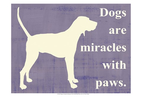 Framed Dogs are miracles with paws Print