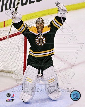 Framed Tuukka Rask celebrates winning the 2013 Eastern Conference Finals Print