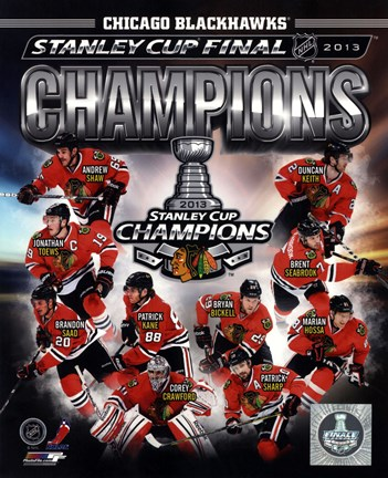 Framed Chicago Blackhawks 2013 NHL Stanley Cup Champions Composite Print