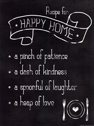 Framed Happy Home Recipe Print