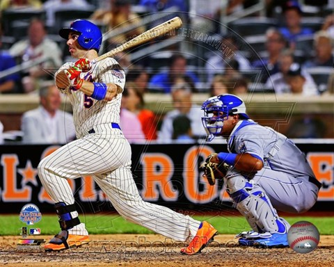 Framed David Wright #5 of the New York Mets hits a single during the 84th MLB All-Star Game on July 16, 2013 Print