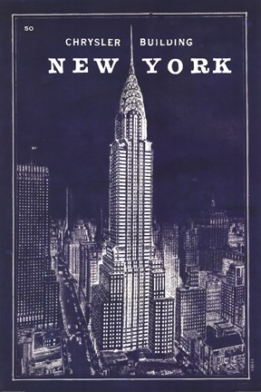 Framed Blueprint Map New York Chrysler Building Print