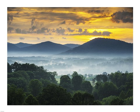 Asheville NC Blue Ridge Mountains Sunset and Fog Landscape Fine Art ...
