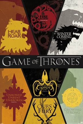 Framed Game of Thrones - Sigils Print