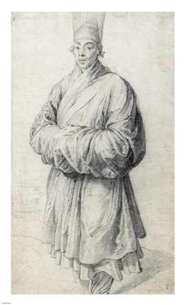 Framed Man in Korean Costume Print