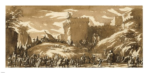 Framed Army Leaving a Castle Print