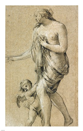 Framed Study of a Female Figure with a Putto Print