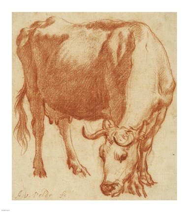 Framed Cow Grazing Print