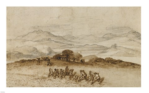 Framed Landscape in Latium with Farm Laborers Print