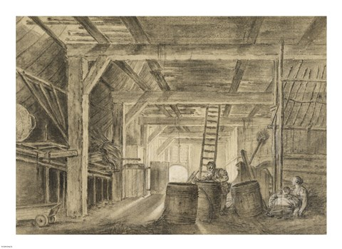Framed Interior of a Barn with a Family of Coopers Print