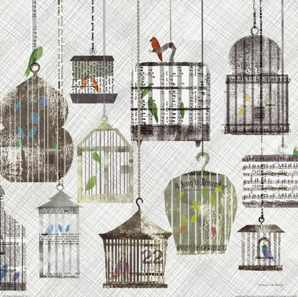 Framed Birdcages Collage Square II Print
